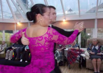 Voluteers Jackie and James performing a ballroom show at Loose Valley Care Home 1