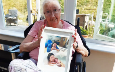 Doreen celebrates family baby news at Loose Valley Care Home
