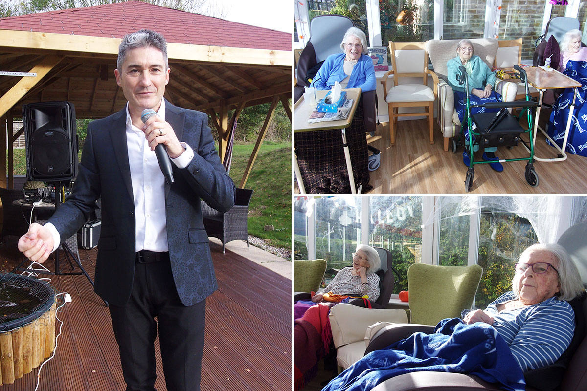 Kevin Walsh delights residents at Loose Valley Care Home