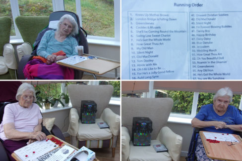 Residents enjoying a game of Musical Bingo at Loose Valley Care Home