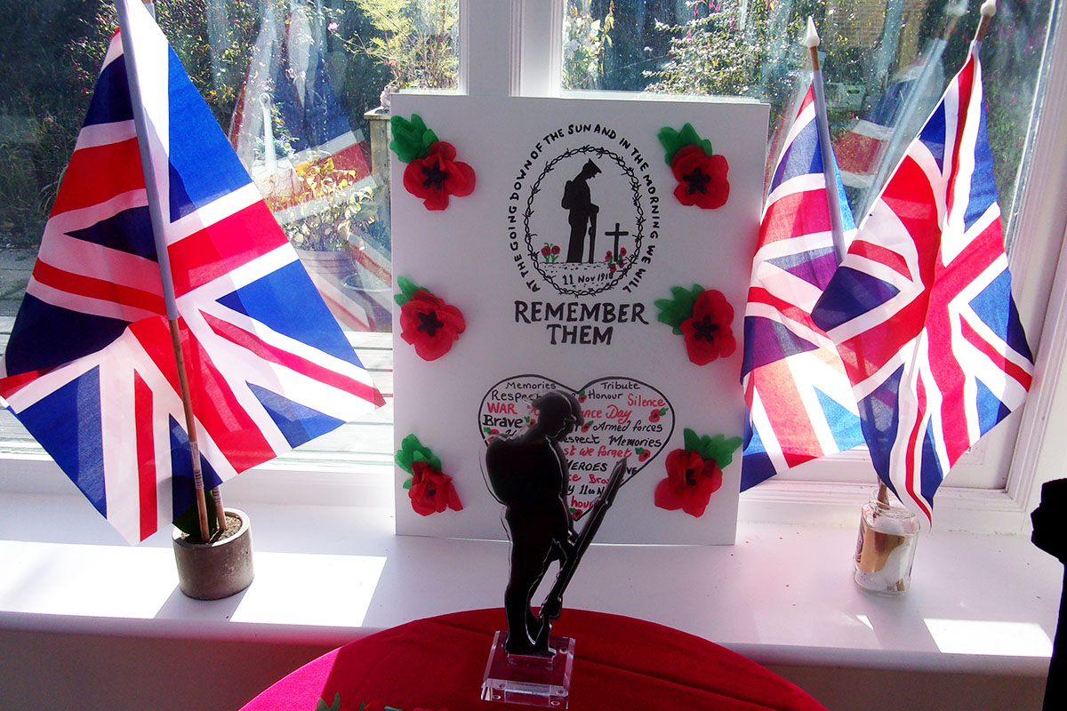 Remembrance memorial crafts at Loose Valley Care Home
