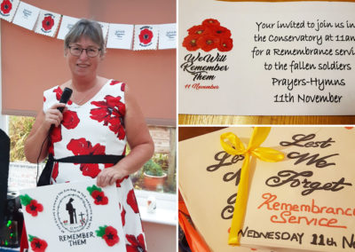 Staff member wearing a Remembrance poppy dress at Loose Valley Care Home