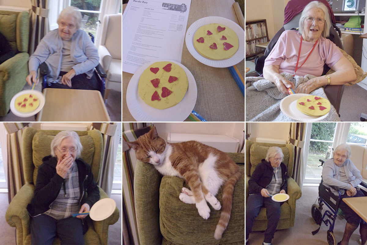 Pancake Day flipping and quiz at Loose Valley Care Home