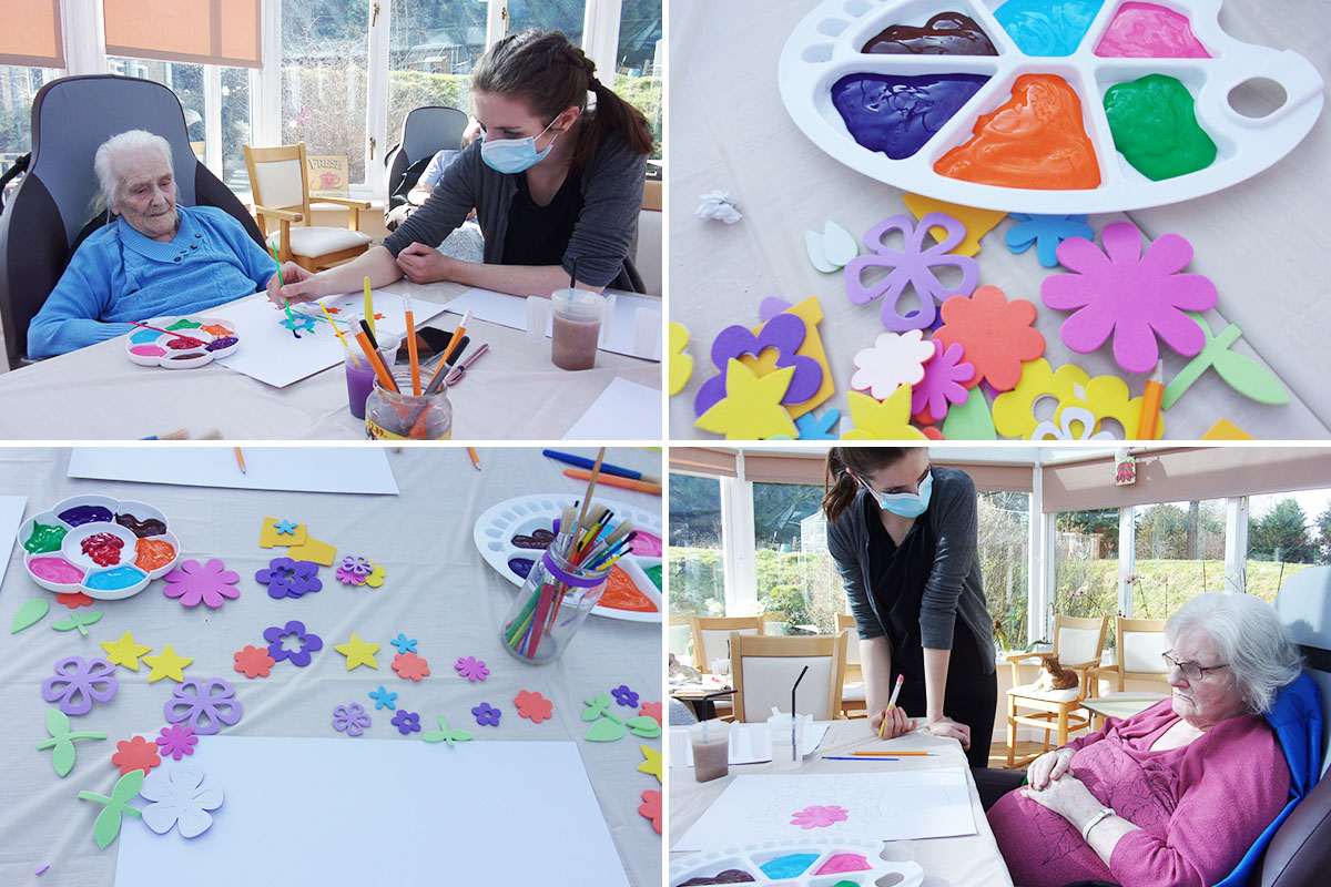 Loose Valley Care Home residents enjoy a therapeutic painting class