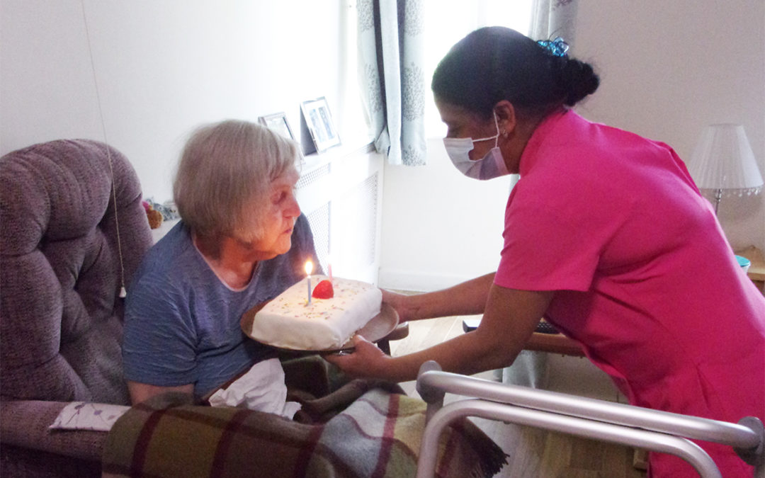 Birthday celebrations for Barbara at Loose Valley Care Home