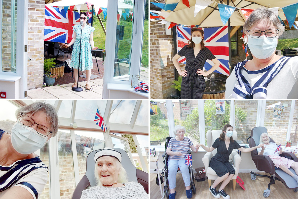 Miss Holiday Swing entertains at Loose Valley Care Home to celebrate VE Day