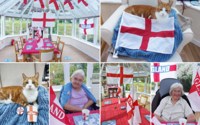 Supporting the England football team at Loose Valley Care Home