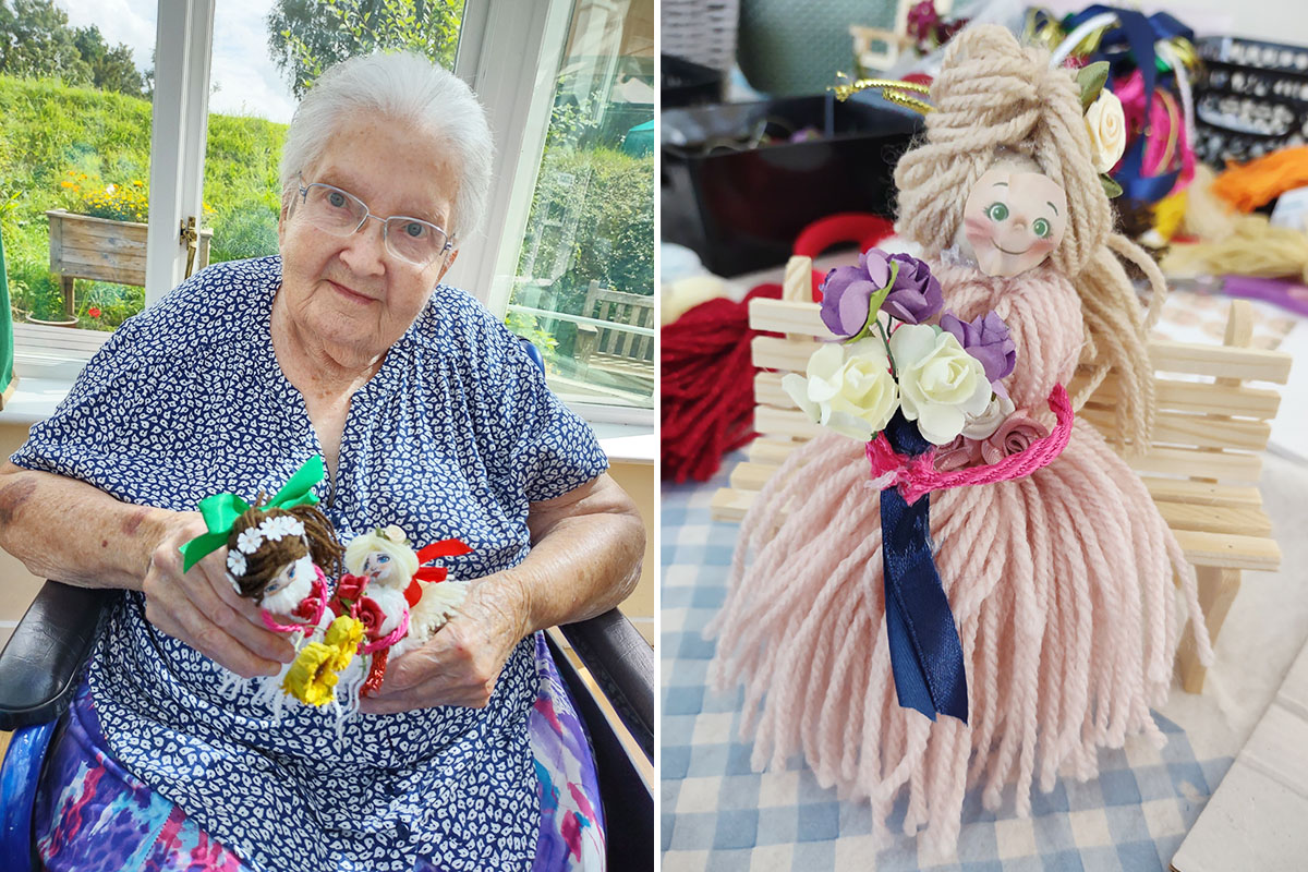 Residents at Loose Valley Care Home make woollen dolls and angels