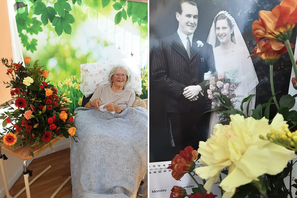 Wedding anniversary flowers at Loose Valley Care Home