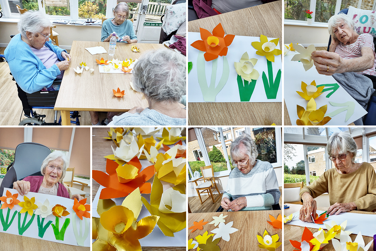 Daffodil crafts at Loose Valley Care Home